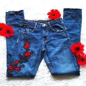 Zara trafaluc denimwear embroidered Jeans size 0